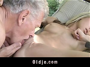 horny light-haired tempts aged fellow to fuck