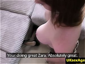 red-haired amateur strokes him over her pretty face