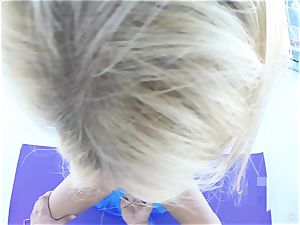 blondie honey Kayla Kayden interrupted from yoga to poke