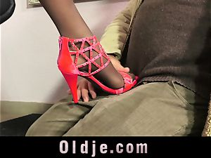 spectacular Teeny entice An elder stud With Her flawless feet