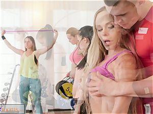 fitness rooms meaty bra-stuffers honies inhale n penetrate instructos manstick