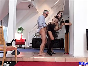 Glam eurobabe assfucked in stylish threesome