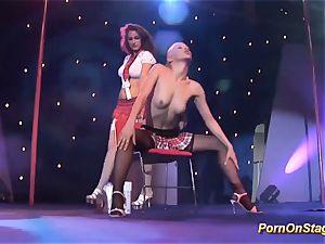 lesbo pornshow on public stage