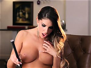 spectacular August Ames draining in beautiful stilettos