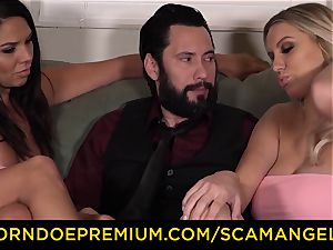 SCAM ANGELS - Boobylicious cougar stunners plows rich boy