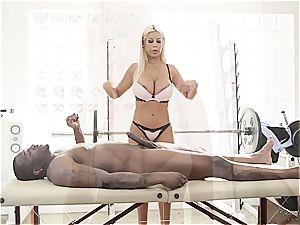 big-titted masseur leaping on a huge dark-hued impaler