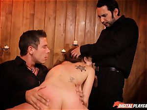 horny Jade Nile in cangue getting caned