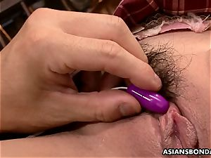 asian student has her pumping out pubic hair viciously played