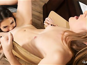 insatiable teacher Melissa and college girl Miley scissoring lesbians on the desk