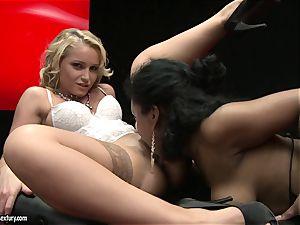 beautiful Kathia Nobili enjoys finger boning her colleagues jiggly raw poon fuckhole