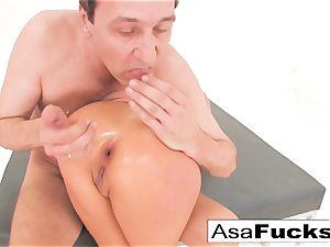 Asa Akira has a scorching ass-fuck threeway