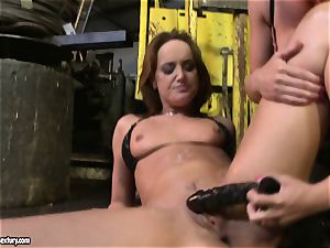 Andy brown and Kathia Nobili toying with dildo