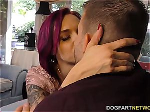 Anna Bell Peaks deep throats monster cock at hotwife Sessions