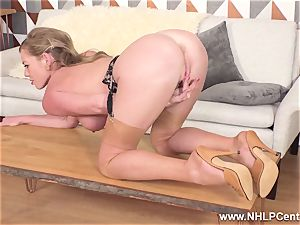 light-haired fingering raw labia in antique nylons high high-heeled shoes