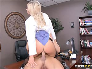 steaming doc Audrey show pummeled in her uniform