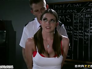 Policeman punishes nasty student on the table