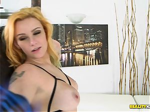 busty light-haired Rain Summers slobbers on large man-meat