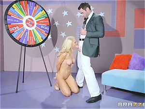 Game show hard-on poking with blondie bombshell Alix Lynx