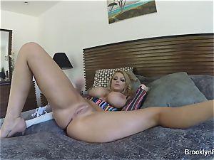 platinum-blonde stunner Brooklyn records herself masturbating