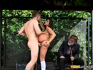 jokey situation of poon tucked daughter and her granddad watches at bus stop - Abella Danger and Bill Bailey