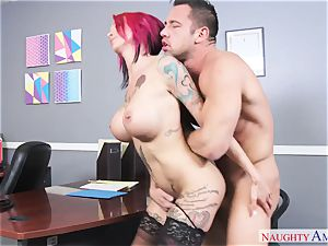 buxom perv doll with enormous bosoms gets fucked on the office desk