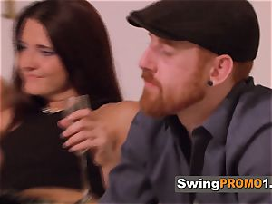 Ginger couple foreplays with other kinky swingers upon their arrival