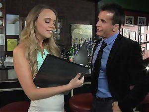Alexis Adams fucks the boss in the bar