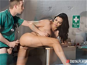 Jasmine Jae sated with her new assets satiates a monster trouser snake physician