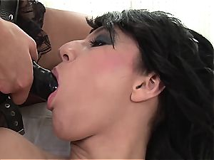 Emylia finds a substitute hard-on for Valentina's wet vulva