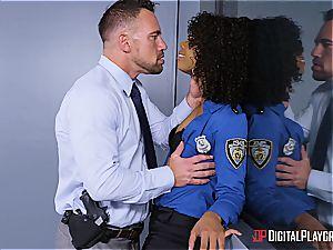 slutty law-woman obeys to underling in the arrest