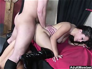successful guy three-way with chinese dominas