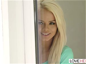 LoveHerFeet - hot platinum-blonde Gives a super-steamy foot poke