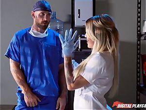 accomplished doc fucks trampy buxomy nurse Kissa Sins on a hospital sofa