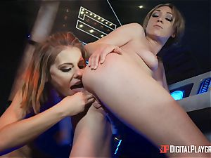 poon loving lesbos Adriana Chechik and Lily Labeau splatter on board