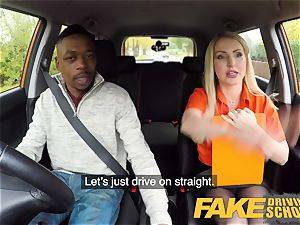 fake Driving school long ebony schlong pleases blonde