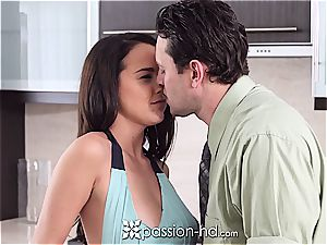 naked bombshell Dillion Harper plays with man-meat