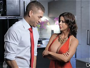 mummy Alexis Fawx gets a face full of cum after a firm boink in the kitchen