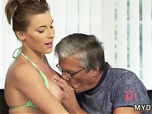elderly milky grandma and daddy demonstrates crony comrade s daughter assfuck first-ever time hookup with her