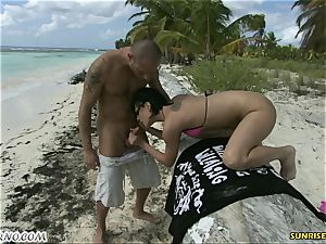 Exotic outdoor fuck-a-thon on a paradise beach