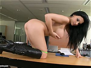 fleshy cockslut Aletta Ocean gets too molten to handle for something naughty solo