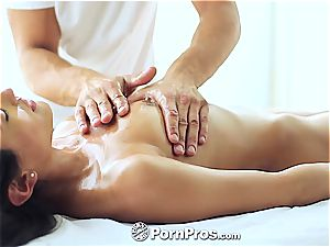 trendy Chloe Amour massaged and sated well