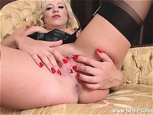 ash-blonde in antique wear nylon panties jacking raw snatch