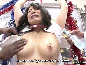 japanese slut getting bizarre with the ebony guys
