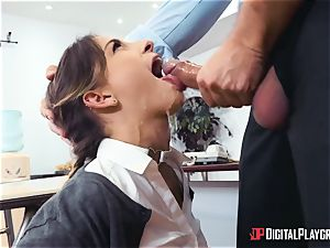 rigorous tutor Keiran Lee penalizes his negligent collegegirl