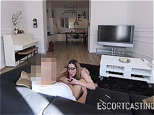 youthful escort chick Ally gets jism in her throat on hidden camera