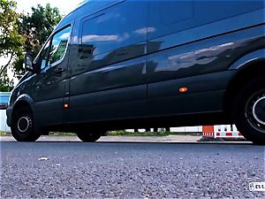 arses BUS - scorching van sex with steamy German ash-blonde